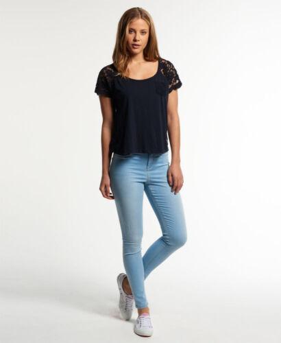 Neue Damen Superdry Sophia High Waist Super Skinny Jeans Harbour Blau