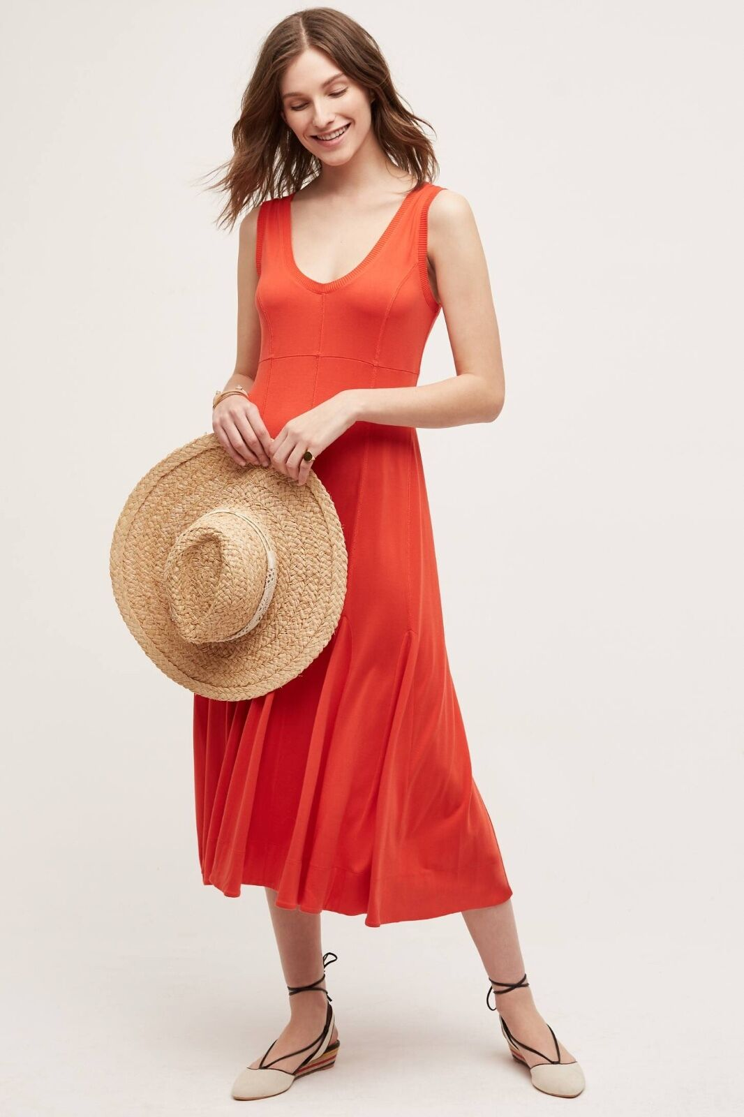 NWT NEW  Anthropologie Abroad Dress Red  orange Maeve Size M S  Medium Small