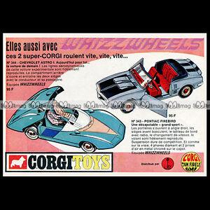 CORGI TOYS 1969 CHEVROLET ASTRO 344 PONTIAC FIREBIRD 343 Pub Publicité Ad #B250 j1b5CVRh-09152630-426943585