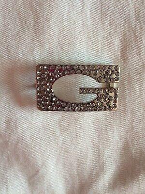 Guess Luccicante Bling In Metallo Tono Argento Designer Fibbia Della Cintura Autentico-mostra Il Titolo Originale