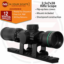 2.5-7x28 Tactical Shockproof Rimfire Rifle scope/Airgun scope + 20mm Mounts
