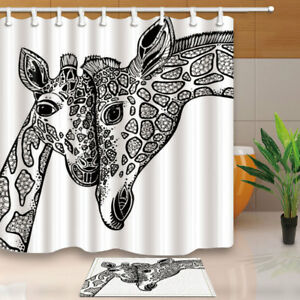 Image Is Loading Hand Painted Animal Giraffe Bathroom  Polyester Fabric Shower