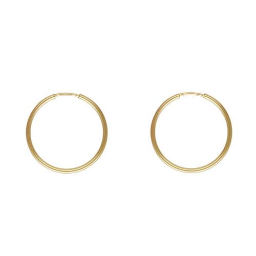 Petites boucles d/'oreilles créoles en fil d/'or fin jaune 14K avec or 14KT