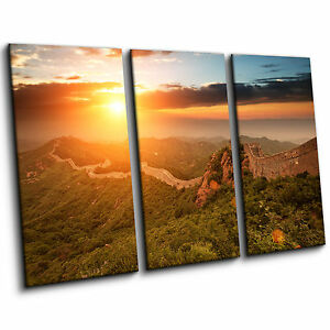 The-Great-Wall-of-China-with-Sunset-Large-3-Piece-Canvas-Print-Wall-Art-Picture
