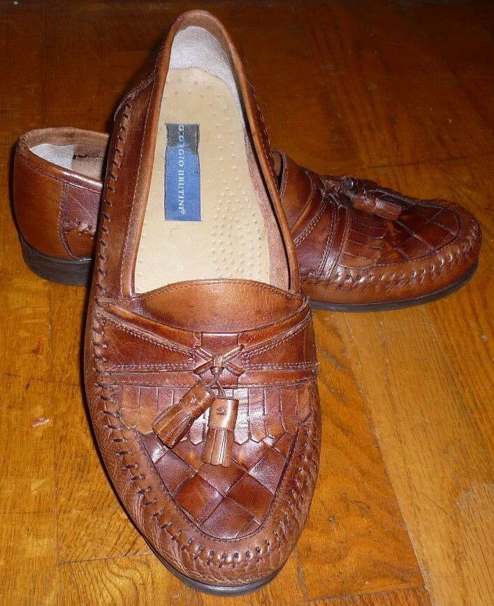 Giorgio Brutini  Austin  Kiltie Tassle Brown Leather Loafers Men's Size 10.5