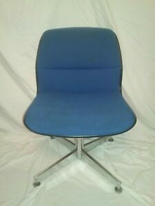 Prime Details About Vintage Allsteel Modern Chrome Swivel Chair Desk Office Knoll Pollack Style Blue Unemploymentrelief Wooden Chair Designs For Living Room Unemploymentrelieforg