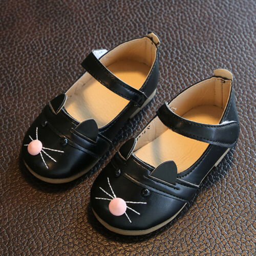 Children Kids Baby Girl Soft Sole Princess Shoes Cat Leather Moccasins Sneakers