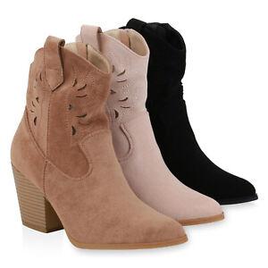 Damen-Stiefeletten-Cowboy-Boots-Cut-Out-Western-Schuhe-High-Heels-833781-Schuhe