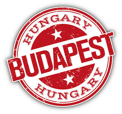"Budapest City Hungary Grunge Travel Stamp Car Bumper Sticker Decal 5"" x 4"""
