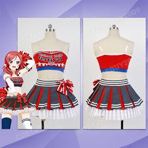 Love Live Honoka Kousaka Cosplay Costume Cheerleader Party Dress Outfit Uniform