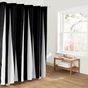 Détails sur Simple Noir et Blanc Tissu Salle de Bain Rideau Douche  Revêtement Polyester