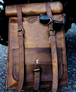 Mens Vintage Genuine Leather Laptop Roll Backpack Rucksack Messenger Bag new