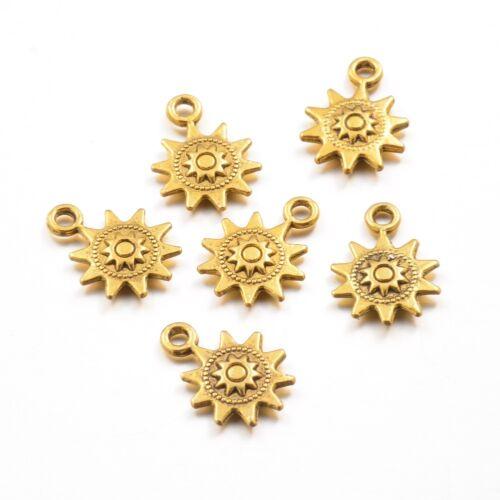 100PCS Tibetan Style Pendants Charms DIY Craft Jewelry Making Sun Antique Golden