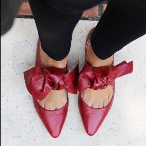 ZARA NEU AW 2016 FLAT BALLERINA LEATHER Schuhe WITH BOW BURGUNDY Ref. 6424/101