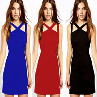 Strappy Night Club Skin-tight Womens Prom Cocktail Party Mini Bodycon Dress Slim