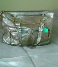 BE & D TOTE ROXY LEATHER SATCHEL BROWN HAND BAG TAN PURSE CROCO STAMPED DOME NEW