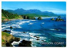 Oregon Coast Postcard Water Waves Mountain Trees Unposted Blue Paradise