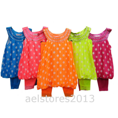 Girls Party Dress Summer 2//3pc Legging Suit Floral Top Age 2 12 year New Fashion