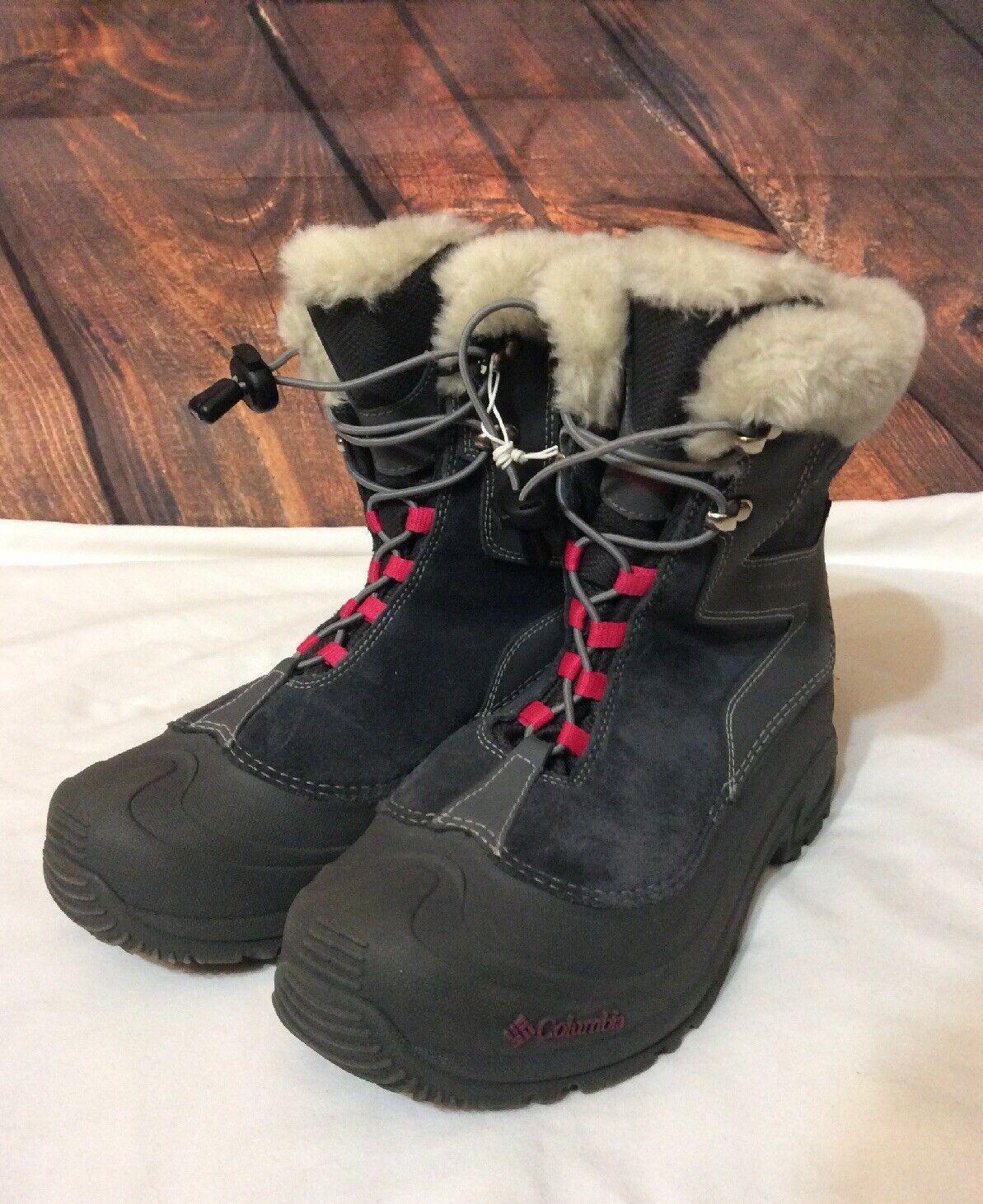 Women's Columbia Omni Heat suede Gray Multicolor Winter Snow Boots Size 7