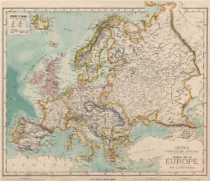 Europe Political Map Germany Austria Hungary Letts 1889 Old