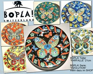 FARFALLE-BOPLA-Porzellan-flacher-Brot-Teller-21cm-Dekor-Katze-im-Schmetterling