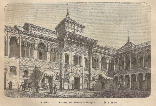 100% Vero A1976 Siviglia - Palazzo Dell'alcazar - Incisione - Stampa Antica 1890_engraving