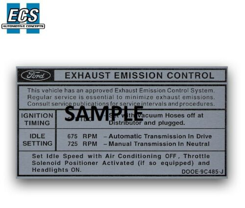 1970 Ford Mustang Emission Control Decal Factory Exact Sticker