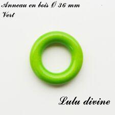 Anneau en bois de 36 mm (XS) sans trou, pour hochet bébé : Vert