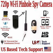 720p HD WIFI PINHOLE SPY CAMERA with Motion Detection, DC or battery Powered, SD