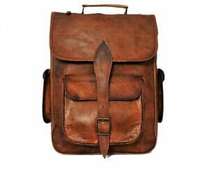 genuine men/'s Real leather backpack bag satchel briefcase laptop brown vintage