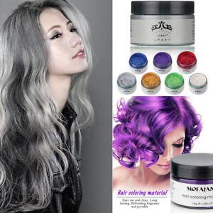 Colourful Silver Grey Hair Wax Men Women Dye Gray Mud Pomade styling ...