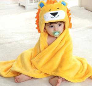 NEW-KIDS-FLEECE-HOODED-BATH-TOWEL-YELLOW-LION