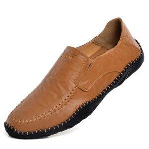 Mens-Casual-Boat-Shoes-Driving-Flat-Sneaker-Slip-On-Loafers-Leisure-Cowhide-Shoe