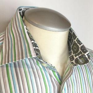 Tailorbyrd-Mens-Shirt-L-White-Blue-Green-Striped-Flip-Cuffs-Button-Up
