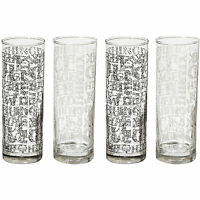 Set Of 4 Soho Black White Tall Hi Ball Tumblers Drinks Glasses Bar Glass Cups