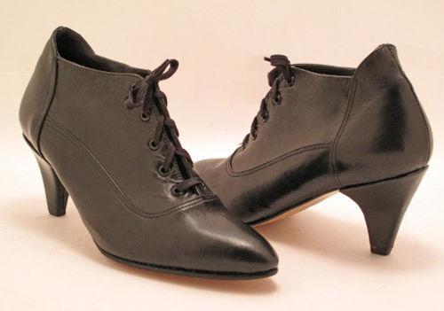 Nuevo Mujeres Cuero Negro Tobillo Tacón Con Cordones Zapato Bota Puntera Puntiaguda Talla 4 M EUR 35