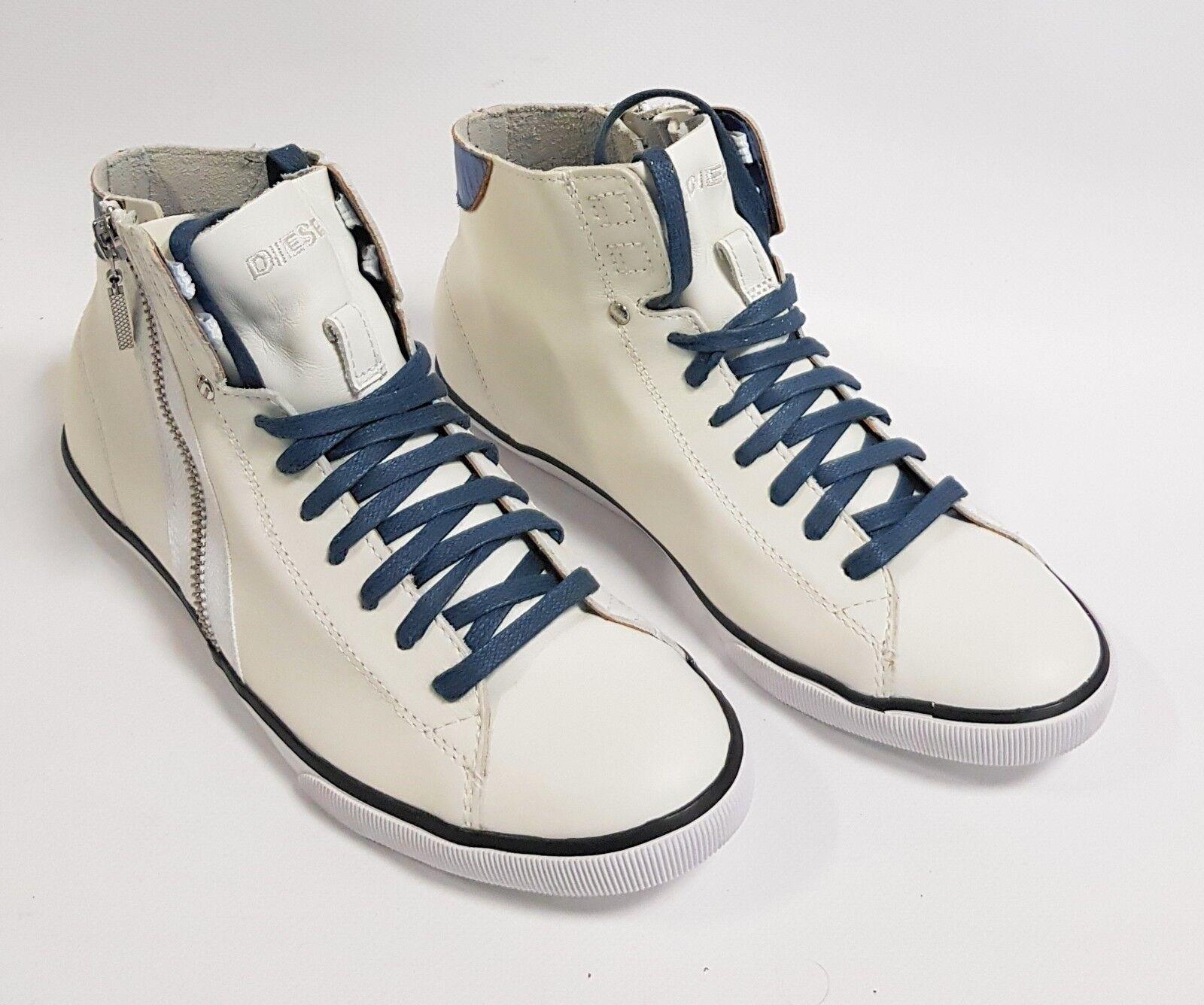 Diesel cortos Beach pit señora zapatillas mujer zapatos Weiss azul cuero y01011 e