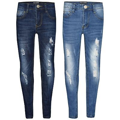 d0156e418b4 Details about Kids Boys Skinny Jeans Denim Ripped Stretchy Pants Trousers  New Age 3-13 Years