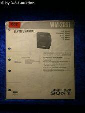 Sony Service Manual WM 2051 Cassette Player (#0682)