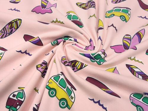 Stoff Baumwolle Jersey Bulli Autos surfen rosa bunt Kleiderstoff Kinderstoff