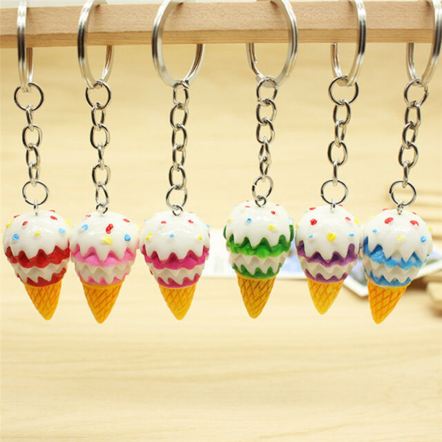 Cute Ice Cream Key Chain Pendant Keyring Gift  Bag Purse Jewelry _CA