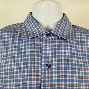 David-Donahue-Mens-Blue-Purple-Check-Plaid-L-S-Dress-Button-Shirt-Sz-Large-L