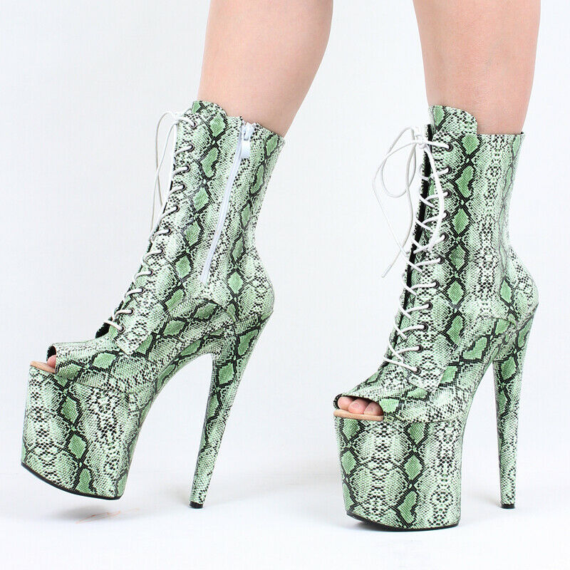 Poste De Acero Para Mujer Patrón De Serpiente Zapatos De Baile Taco Alto botas Con Cordones Punta Abierta