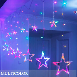 Led Fenster Weihnachtsbeleuchtung.Details Zu Led Sterne Lichtervorhang Weihnachtsbeleuchtung Lichterkette Licht Fenster Deko