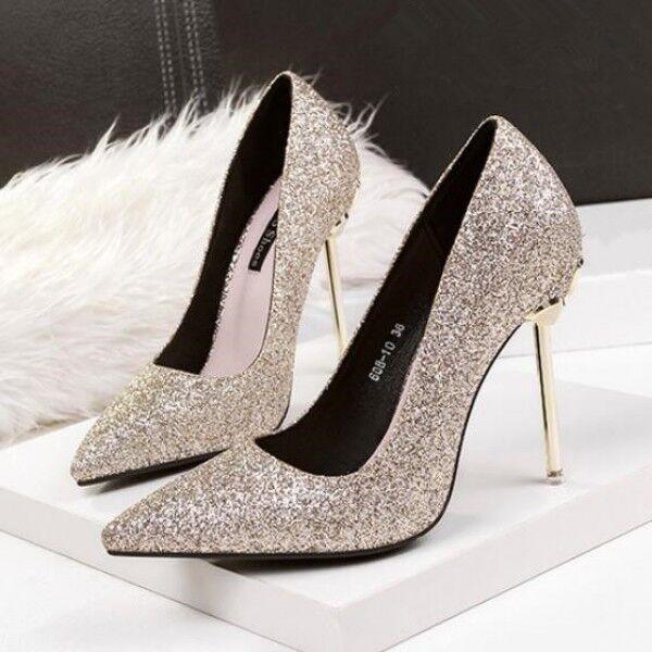 decolte scarpe donna oro strass stiletto 10.5 tacco spillo simil pelle 8175