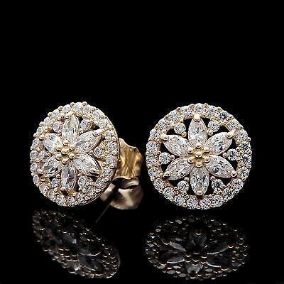 2 00ct Marquise Round Created Diamond Earrings 14k Yellow Gold Snowflake Studs Ebay