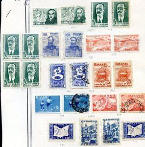 Bresil-lot-49-timbres-1954-5-MH-Utilise
