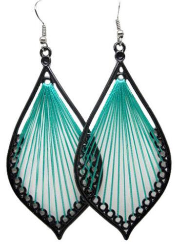 T1253 fashion vert artisanal fil Dangle Boucles d/'oreilles Bijoux
