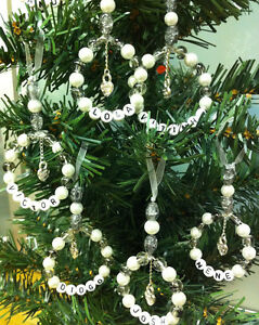 personalised xmas tree decorations handmade glass beads any colour