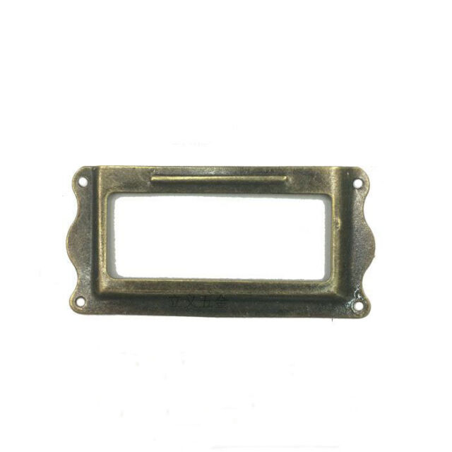 59mm x 23mm File Drawer Label Tag Name Card Holder Bronze Tone 30pcs